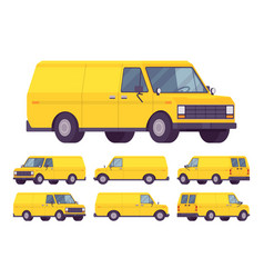 yellow van set vector image