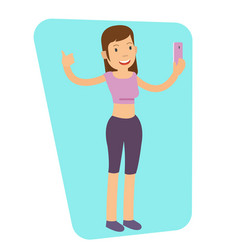 young girl doing selfie after workout vector image