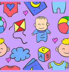 baby object set doodles vector image