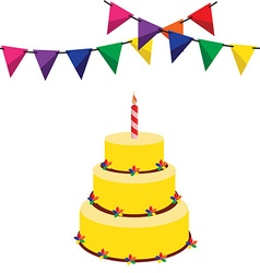 Birthday cake and garland vector image vector image