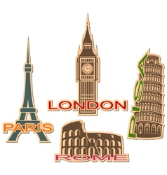 Set of cities symbols vector image vector image
