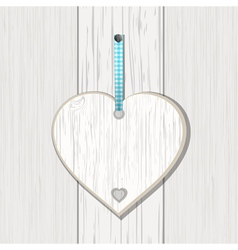 wooden heart sign on white wood vector image