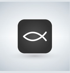 christian fish symbol on app button vector image
