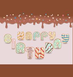 happy birthday white chocolate donuts vector image