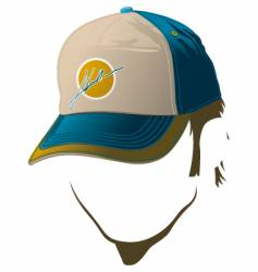 male face with baseball cap vector image vector image