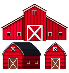 red barns in three designs vector image