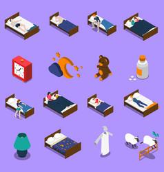 sleep time isometric icons set vector image vector image
