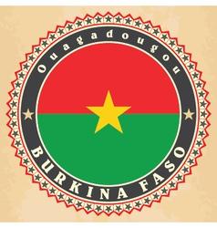 Vintage label cards of Burkina Faso flag vector image vector image