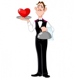 butler with heart vector image vector image