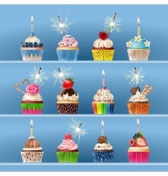 Collection of festive cupcakes with sparklers and vector image