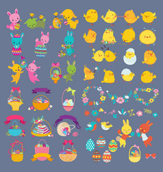 easter design elements with bunny chick vector image vector image