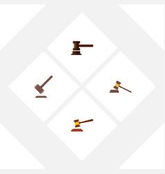 flat icon hammer set of court tribunal vector image vector image