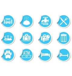 Set of services and entertainment icons blue label vector