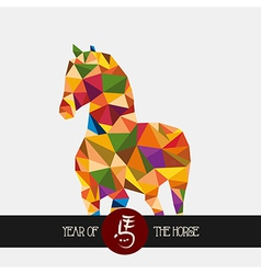 Chinese new year of the Horse colorful triangle vector image vector image