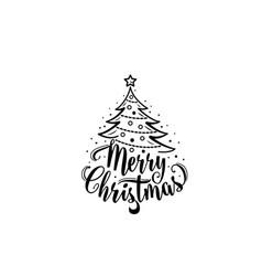 christmas text xmas tree decoration type vector image