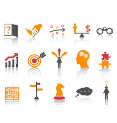 orange business strategy icons set vector image vector image