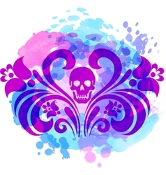 Skull with floral wings vector image vector image