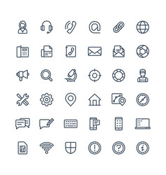 thin line icons set with contact us vector image