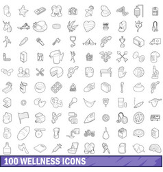 100 wellness icons set outline style vector image