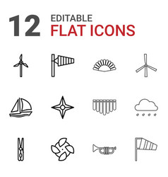 12 wind icons vector image