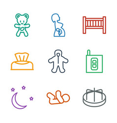 9 baby icons vector