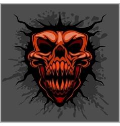 Aggressive skull for motocross helmet vector