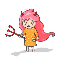 Angry girl with trident and devil horns cute vector