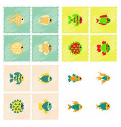 Aquarium fish silhouette stock collection vector