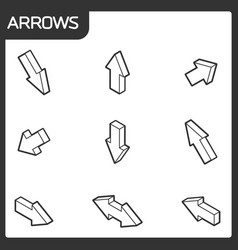 arrows outline isometric icons vector image