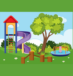 Background scene with slide and roundabout in park vector