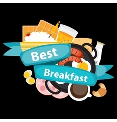 Best Breakfast Icon Background in Modern Flat vector image