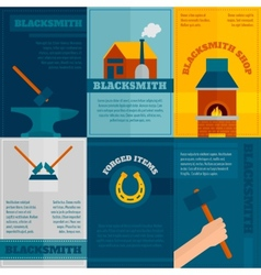 Blacksmith shop flat icons set vector