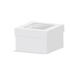 blank paper box packaging with plastic window vector image