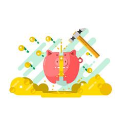 break piggy bank with money vector image