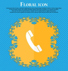 Call icon Floral flat design on a blue abstract vector image