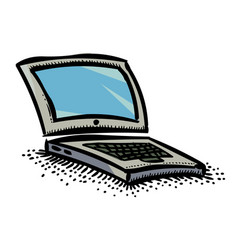 cartoon image of laptop icon computer symbol vector image