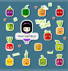 chibi girl and square vegetable character set vector image