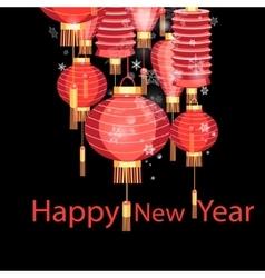 Christmas chinese lanterns vector