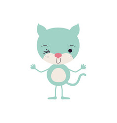 Colorful caricature of cute kitten wink eye vector