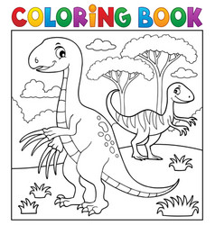 coloring book dinosaur subject image 4 vector image