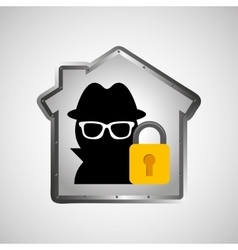 Computer data protection thief lock icon vector
