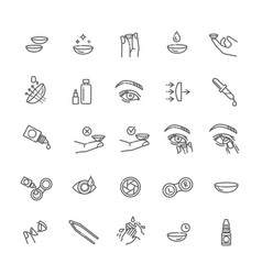 Contact lenses icon set flat design style vector