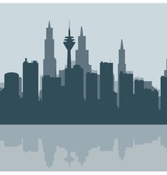 Contour of the big city at the ocean vector image