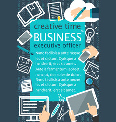 Creative team flat banner for business concept vector