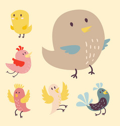 Cute birds set cartoon vector