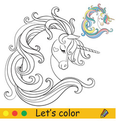 cute dreaming unicorn head with long mane coloring vector image