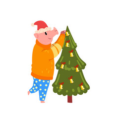cute pig decorating christmas tree funny piggy vector image