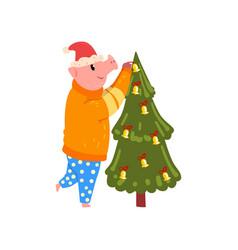 Cute pig decorating christmas tree funny piggy vector