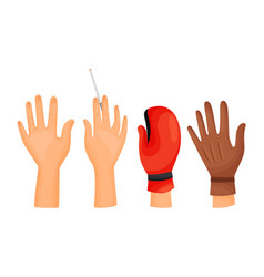 Different hands with cigarette and in gloves vector