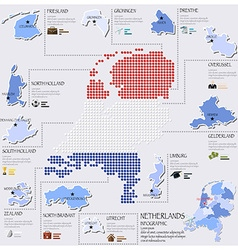 Dot and flag map of netherlands infographic design vector